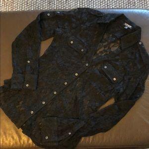 Express black stretch lace button down shirt